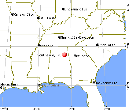 Southside, Alabama map