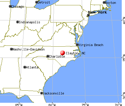 Clayton, North Carolina map