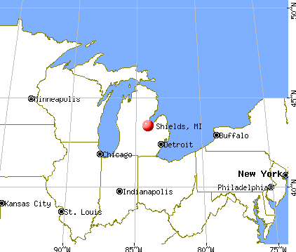 Shields, Michigan map