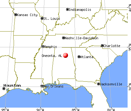 Oneonta, Alabama map
