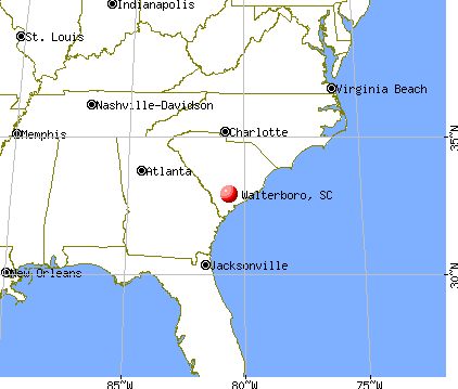 Walterboro, South Carolina map