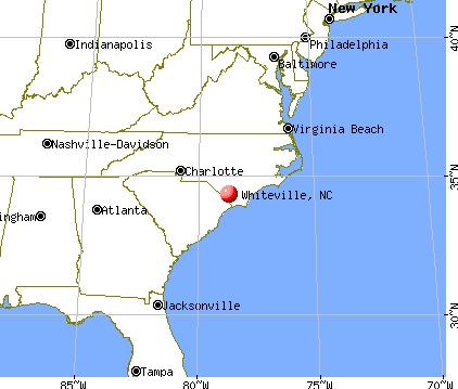 Whiteville, North Carolina map