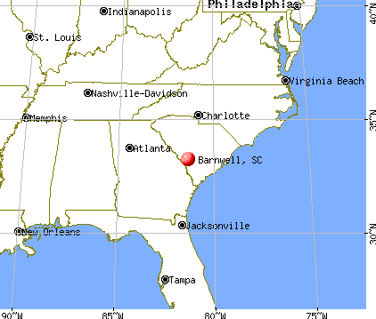 Barnwell, South Carolina map