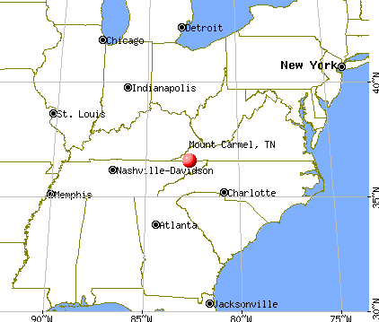 Mount Carmel, Tennessee map