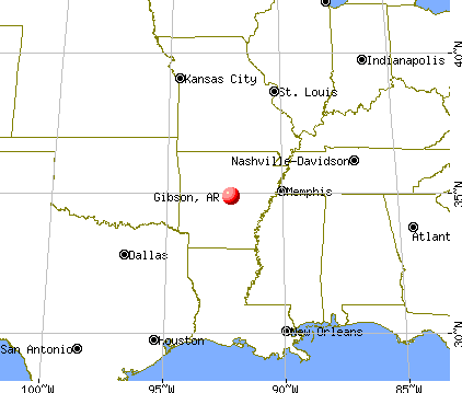 Gibson, Arkansas map