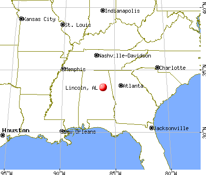 Lincoln, Alabama map