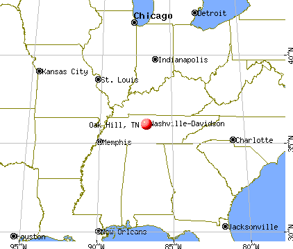 Oak Hill, Tennessee map