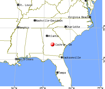 Cochran, Georgia map