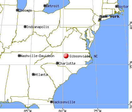 Gibsonville, North Carolina map