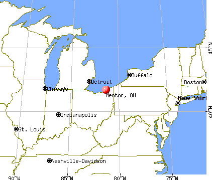 Mentor, Ohio map