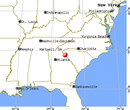Hartwell, Georgia map