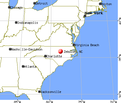 Zebulon, North Carolina map