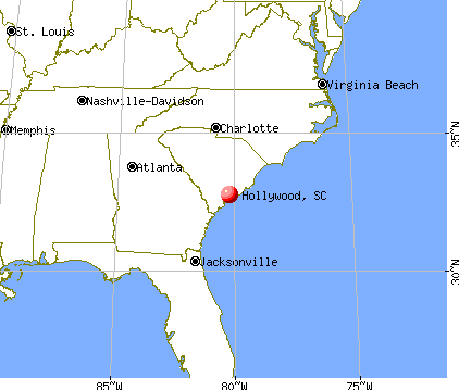 Hollywood, South Carolina map