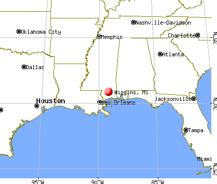 Wiggins, Mississippi map