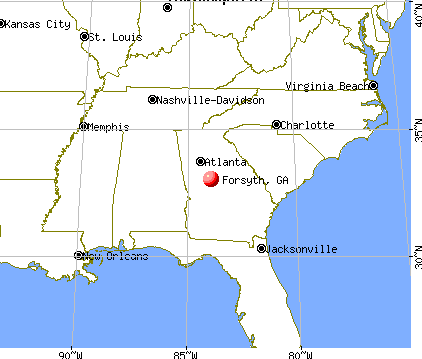 Forsyth, Georgia map
