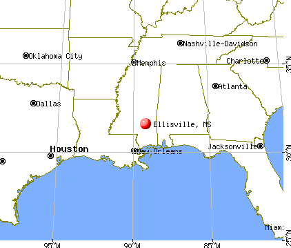Ellisville, Mississippi map
