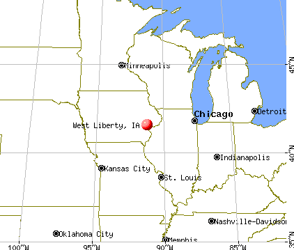 West Liberty, Iowa map