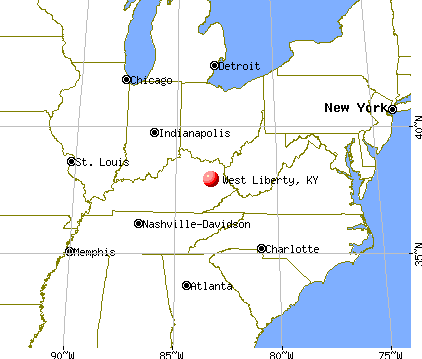 West Liberty, Kentucky map