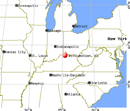 Williamstown, Kentucky map