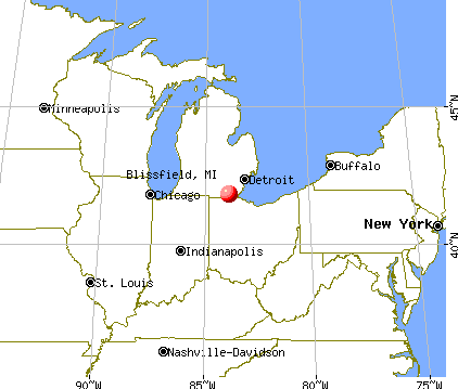 Blissfield, Michigan map