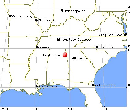 Centre, Alabama map