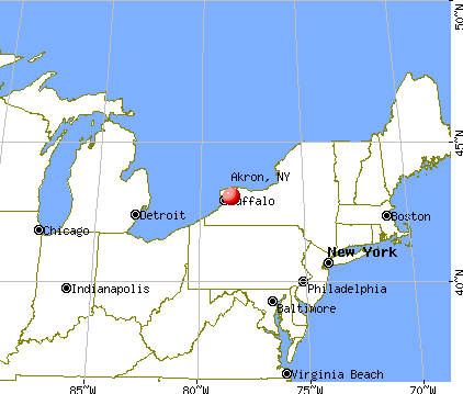 Akron, New York map