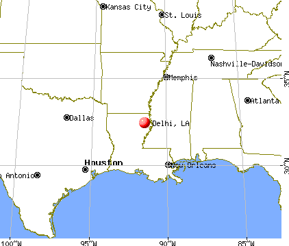 Delhi, Louisiana map