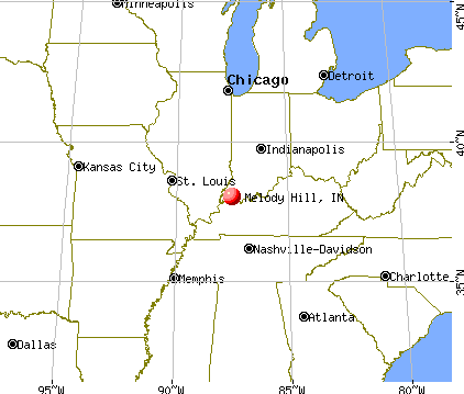 Melody Hill, Indiana map