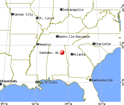 Gadsden, Alabama map