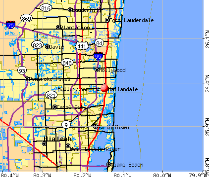 Hallandale, FL map