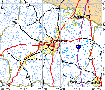 Columbia, TN map