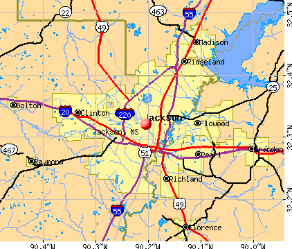 Jackson, MS map