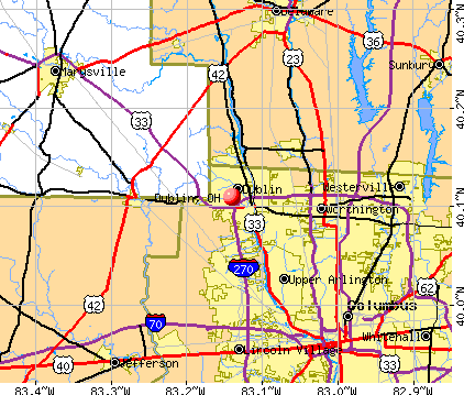 Dublin, OH map