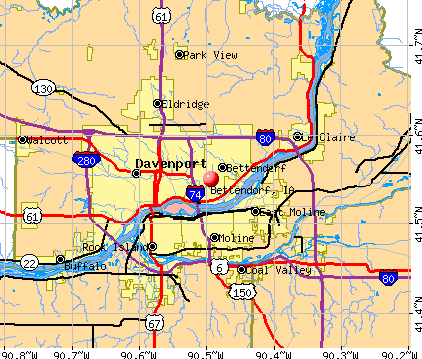 Bettendorf, IA map