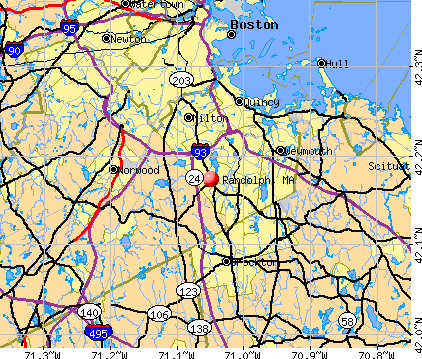 Randolph, MA map