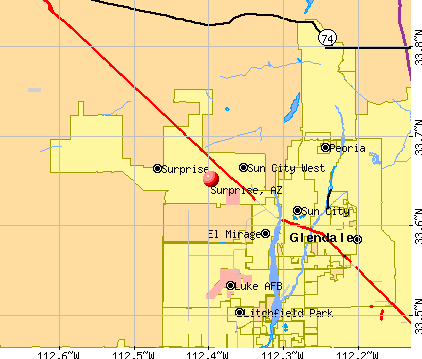 Surprise, AZ map