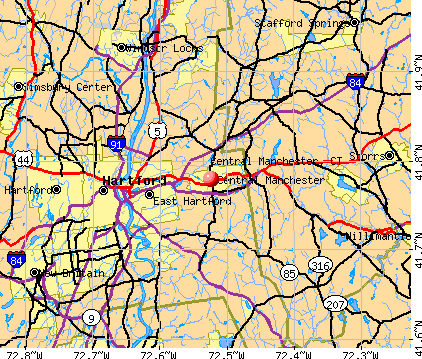 Central Manchester, CT map