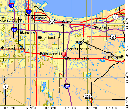 Merrillville, IN map