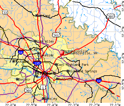 Mechanicsville, VA map