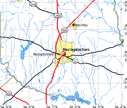 Nacogdoches, TX map