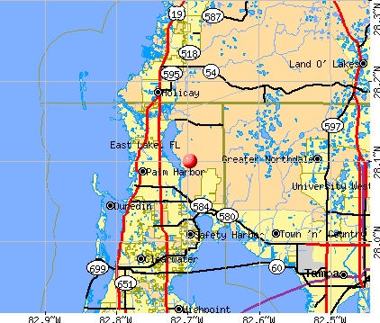 East Lake, FL map