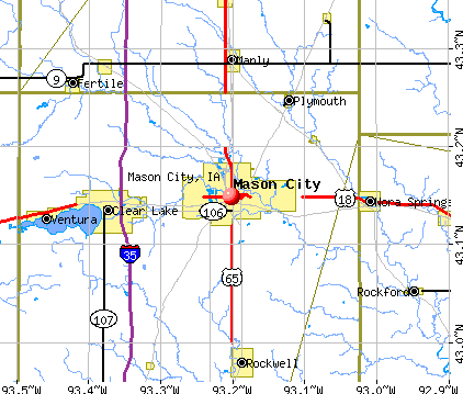 Mason City, IA map