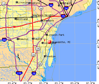 Wyandotte, MI map