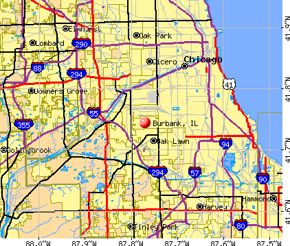 Burbank, IL map