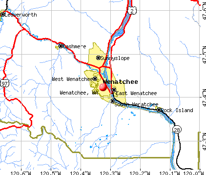 Wenatchee, WA map