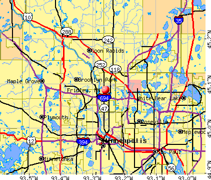 Fridley, MN map