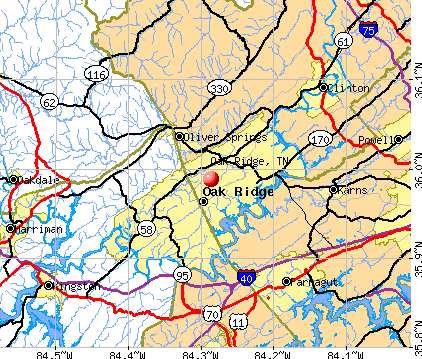 Oak Ridge, TN map