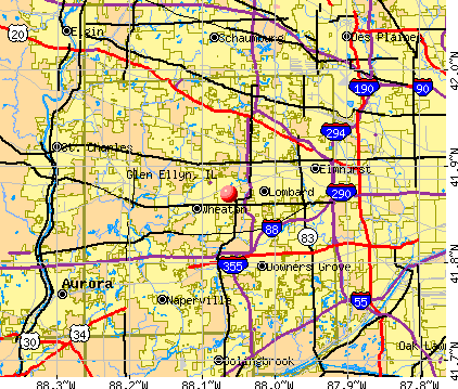 Glen Ellyn, IL map