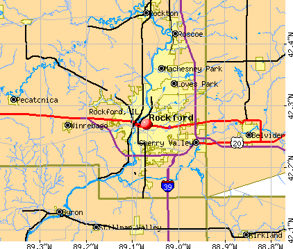 Rockford, IL map