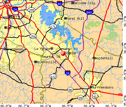 Smyrna, TN map
